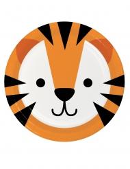 8 piattini in cartone piccola tigre 18 cm