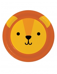 8 piattini in cartone piccolo leone 18 cm