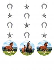 3 sospensioni in cartone cavalli