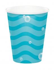 8 bicchieri in cartone onde blu