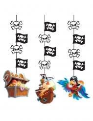 3 sospensioni in cartone tesoro dei pirati