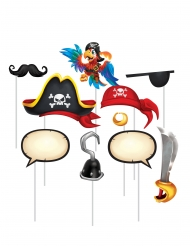 Kit photobooth 10 accessori tesoro dei pirati