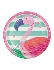 8 piattini Flamingo Ananas Party 18 cm