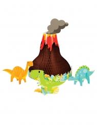 4 centrotavola dinosauri colorati e vulcano