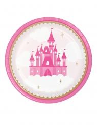 8 piattini in cartone castello rosa 18 cm