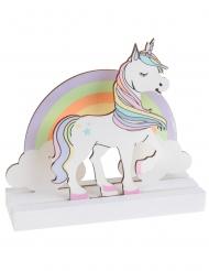 Centrotavola in legno unicorno colorato