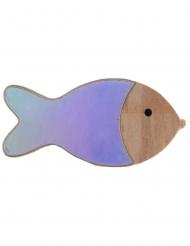 4 coriandoli pesci in legno iridescenti