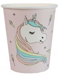 10 bicchieri in cartone rosa unicorno colorato