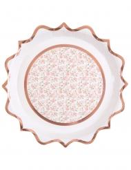 10 piatti in cartone ballerina oro rosa 22 cm