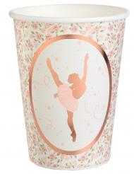 10 bicchieri in cartone ballerina oro rosa