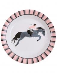 10 piatti in cartone equitazione 22 cm