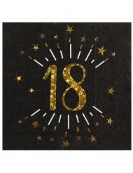 10 tovaglioli di carta neri 18 anni oro