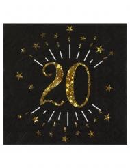 10 tovaglioli di carta neri 20 anni oro