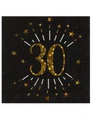 10 tovaglioli di carta neri 30 anni oro