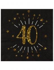 10 tovaglioli di carta neri 40 anni oro