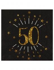 10 tovaglioli di carta neri 50 anni oro