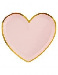 10 piatti in cartone cuore rosa e oro 22 cm
