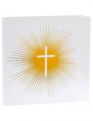 Libro per firme bianco e oro con croce