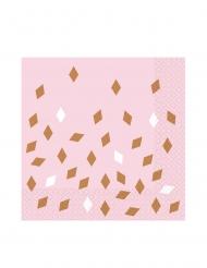 16 tovaglioli rosa rombi bianchi e oro rosa