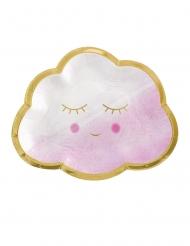 8 piattini nuvoletta rosa e oro 17 cm