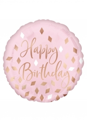 Palloncino Happy Birthday rosa motivi oro rosa