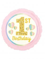 Palloncino alluminio 1st Birthday rosa e oro