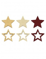 12 coriandoli in legno stelle bordeaux e oro
