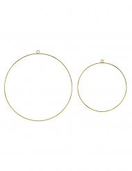 2 cerchi in metallo dorato