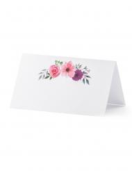 25 segnaposto bianchi con fiori rosa e viola