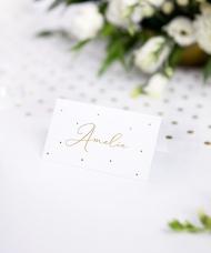 10 segnaposto in cartone bianco con pois oro