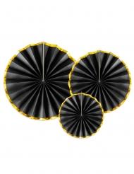 3 rosoni in cartone neri e oro