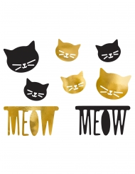 8 coriandoli gattina neri e oro