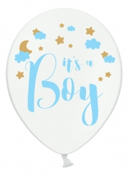 6 palloncini in lattice bianchi It's a boy