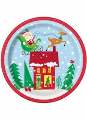 8 piatti in cartone Babbo Natale colorato 23 cm