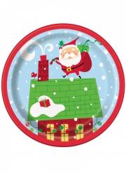 8 piattini di carta Babbo Natale colorato 8 cm