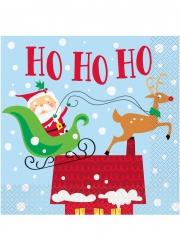 16 tovaglioli di carta Babbo Natale colorato