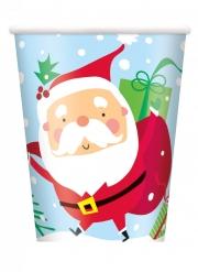 8 bicchieri in cartone Babbo Natale colorato