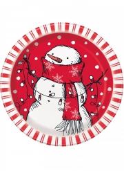 8 piattini in cartone rosso pupazzo di neve 18 cm