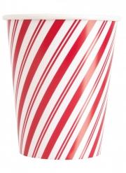 8 bicchieri in cartone rosso pupazzo di neve