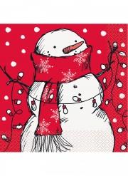 16 tovaglioli in carta rossa pupazzo di neve