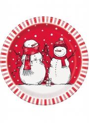 8 piatti in cartone rosso pupazzo di neve 23 cm