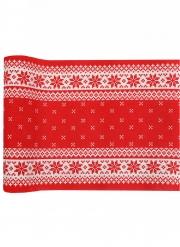 Runner da tavola in cotone rosso motivi natalizi