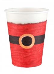 10 bicchieri in cartone Babbo Natale