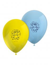 8 palloncini in lattice gialli e blu Peppa Pig™
