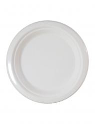 10 piatti bianchi in fibra di canna 23 cm