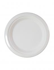 10 piattini bianchi in fibra di canna 18 cm
