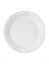 10 piatti in cartone compostabile bianco 23 cm