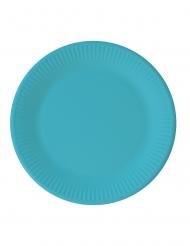 8 piatti in cartone compostabile turchese 23 cm