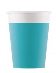 8 bicchieri in cartone compostabile turchese