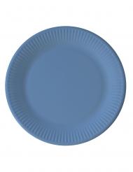 8 piatti in cartone compostabile celesti 23 cm